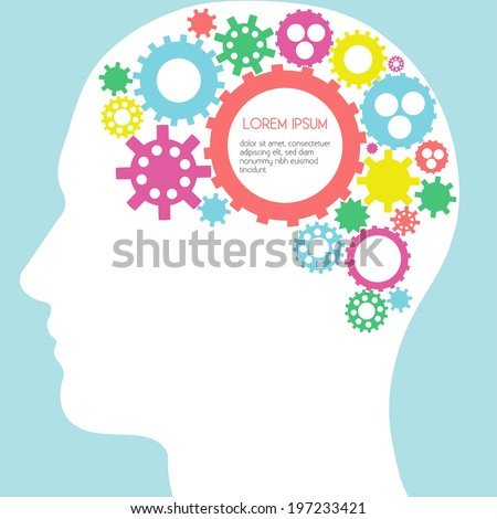 Infographic Design - Human Head With Gears Brain - Vector EPS10 - stock vector