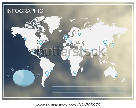 Infographic design.Infographic world map on blurred background.Vector illustration.