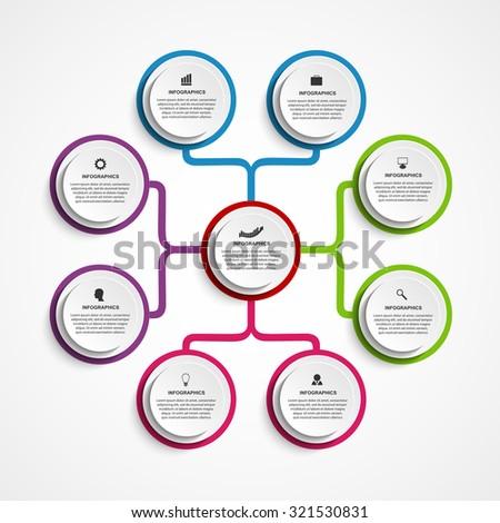 Infographic design organization chart template.  - stock vector