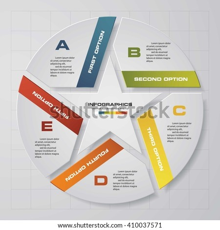Infographic design template and business concept with 5 options, parts, steps or processes. Can be used for work flow layout, diagram, number options, web design. - stock vector