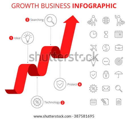 Infographic design template and isolated business icon set. Vector flat line infographic elements. Upward red arrow and icons depict process of increase business. Vector illustration of growth arrow - stock vector