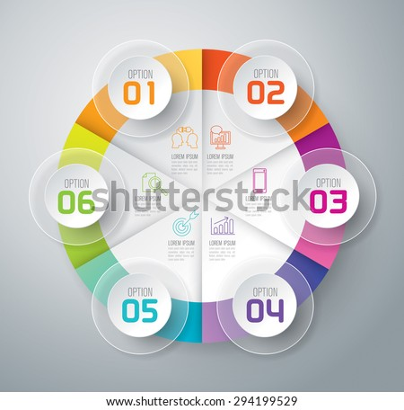 Infographic design template and marketing icons, Business concept with 6 options, parts, steps or processes. Can be used for workflow layout, diagram, number options, web design.    - stock vector