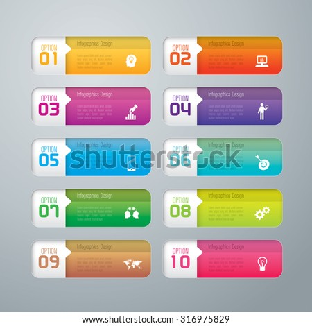 Infographic design template and marketing icons, Business concept with 10 options, parts, steps or processes. Can be used for workflow layout, diagram, number options, web design.    - stock vector