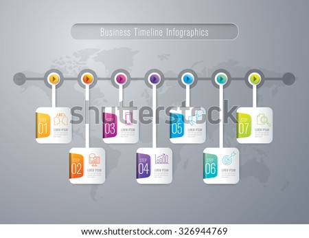 Infographic design template and marketing icons, Business concept with 7 options, parts, steps or processes. Can be used for workflow layout, diagram, number options, web design.    - stock vector