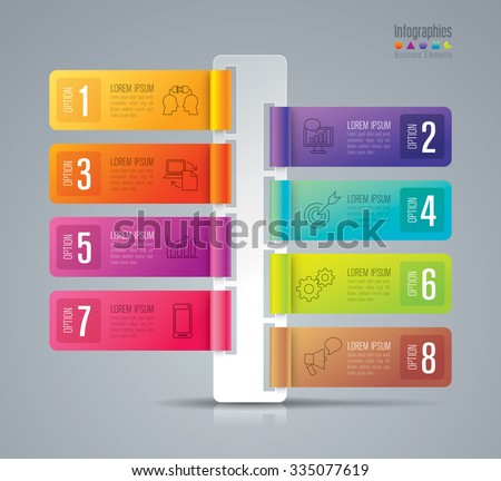 Infographic design template and marketing icons, Business concept with 8 options, parts, steps or processes. Can be used for workflow layout, diagram, number options, web design.    - stock vector