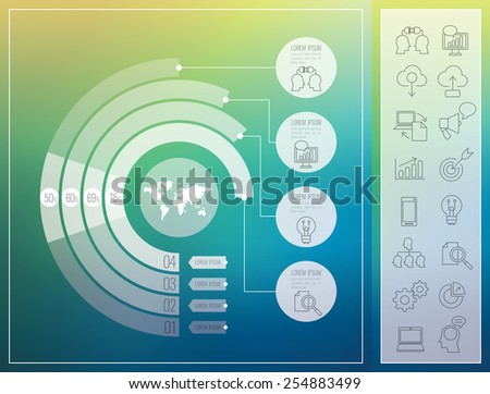 Infographic design template and 16 marketing icons, thin line style, flat design. Can be used for workflow layout, diagram, number options, web design.    - stock vector