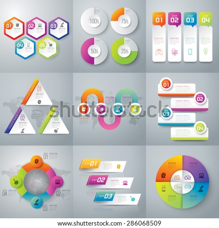 Infographic design template can be used for workflow layout, diagram, number options, web design. Business concept with 3, 4, 5 options, parts, steps or processes. Abstract background. - stock vector