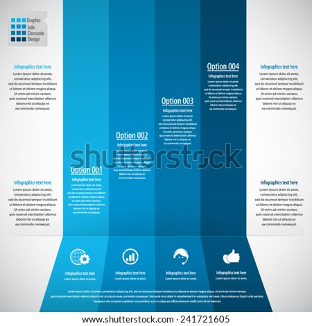 Infographic design template- display information with original and modern style. All elements in separate layers - background,gear shape,infographics text. - stock vector