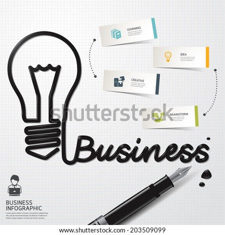Infographic Design template minimal style Business Ink shaped bulb thinking on paper. Vector illustration.  - stock vector