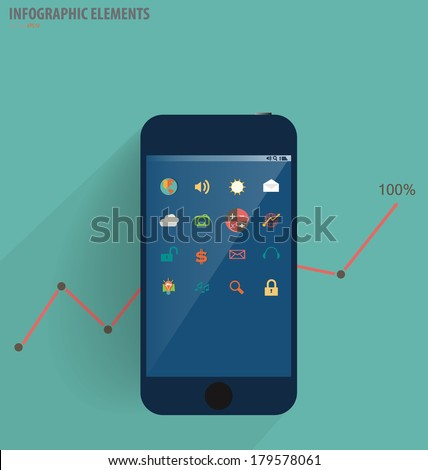 Infographic design template - modern touchscreen device with application icon, vector illustration - stock vector