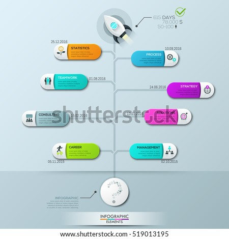 Infographic Design Template Vertical Tree Diagram Stock Vector