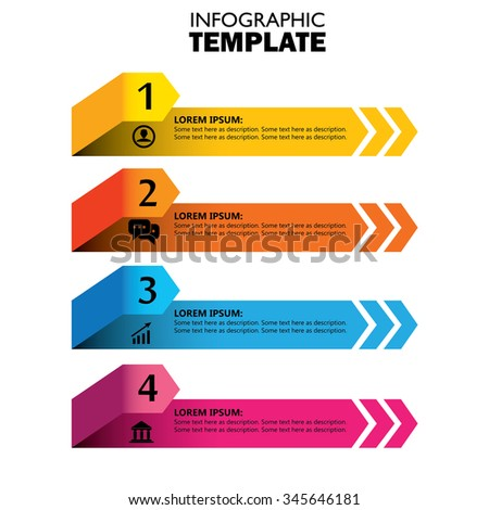 infographic design template with arrows marketing vector icons. this concept has 4 options, choices, steps or processes and can be used for workflow layout, diagram, number options, web design - stock vector