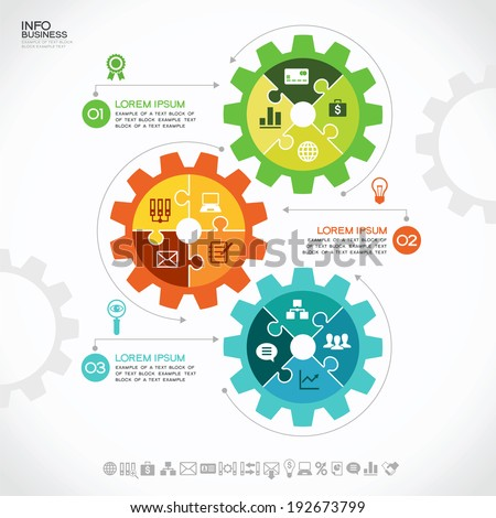 Infographic design template with gear, puzzles and icons, Modern design background. Business concept. - stock vector