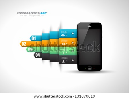 Infographic design template with paper tags. Idea to display information, ranking and statistics with orginal and modern style. - stock vector