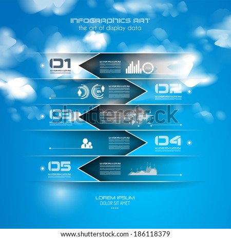 Infographic design template with paper tags. Idea to display information, ranking and statistics with orginal and modern style.illustration; - stock vector