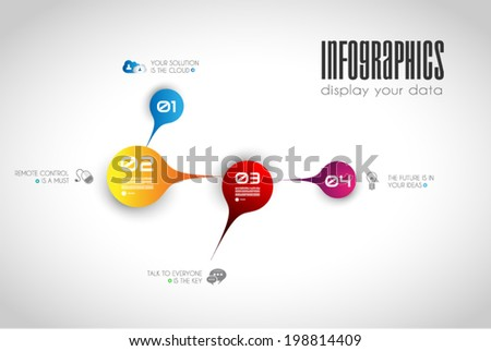 Infographic design template with paper tags. Idea to display information, ranking and statistics with orginal and modern style.illustration; design; - stock vector