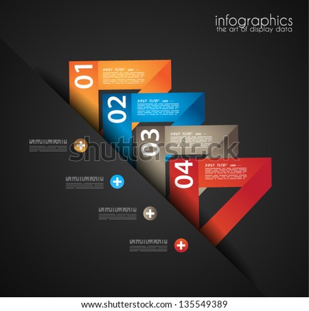 Infographic design template with paper tags. Ideal to display information, ranking and statistics with orginal and modern style. - stock vector