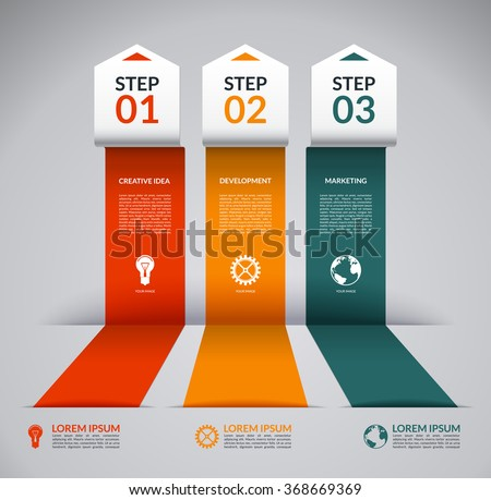 Infographic design template with the set of marketing icons. Vector banner in the form of broken colored paper arrows. Business concept with 3 steps, parts, options - stock vector