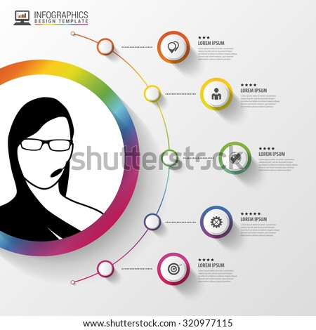Infographic design template. woman with headphones. Colorful circle with icons. Vector illustration - stock vector