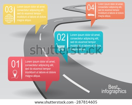 Infographic design. Vector curved road with info bubbles - stock vector