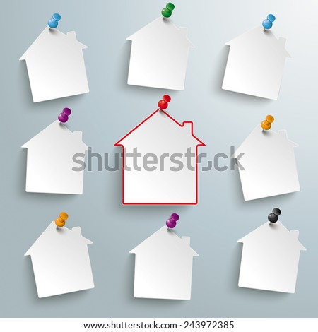 Infographic design white paper houses and red thumbtacks on the gray background. Eps 10 vector file. - stock vector