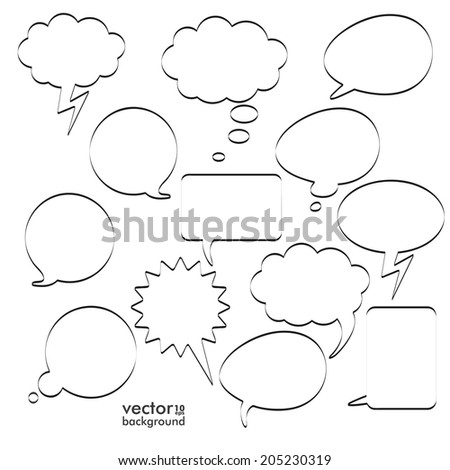Infographic design with black communication bubbles on the white background. Eps 10 vector file. - stock vector