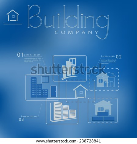 infographic design with building company logo on blue background - stock vector