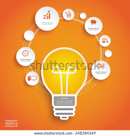 Infographic design with bulb on the blue background. Eps 10 vector file. - stock vector