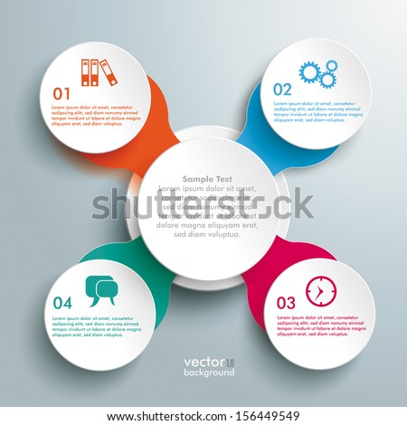 Infographic design with colored and white circles on the grey background. Eps 10 vector file. - stock vector