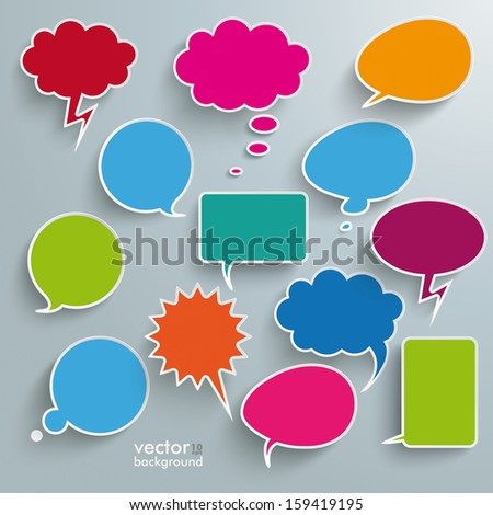 Infographic design with colored communication bubbles on the grey background. Eps 10 vector file. - stock vector