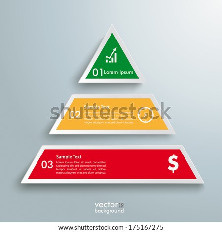 Infographic design with colored pyramid on the grey background. Eps 10 vector file. - stock vector