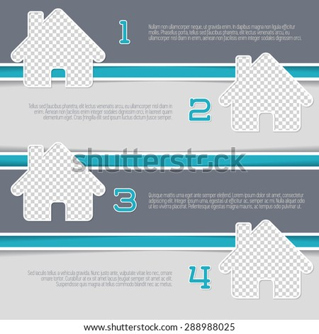 Infographic design with house shaped photo containers and numbered options - stock vector
