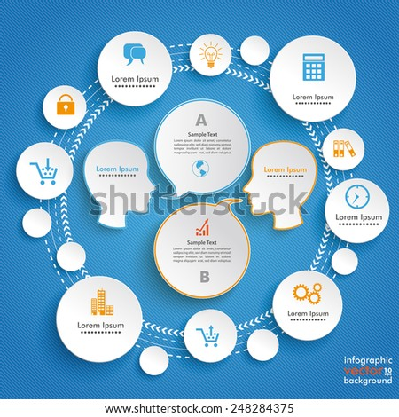 Infographic design with human heads and circles on the blue background. Eps 10 vector file. - stock vector