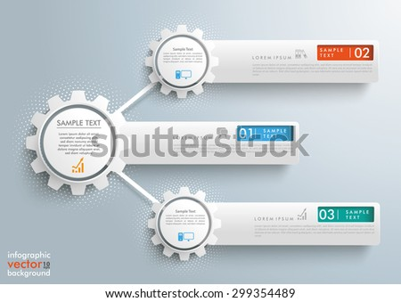 Infographic design with network gears and banners on the gray background. Eps 10 vector file. - stock vector