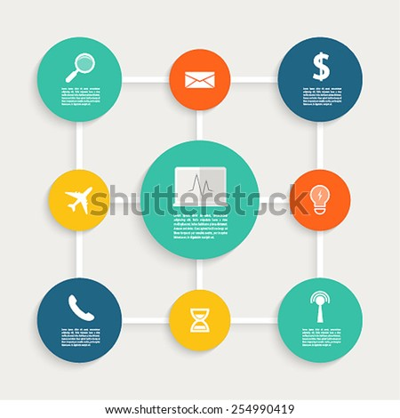 Infographic design with paper creative icons. Vector illustration. - stock vector