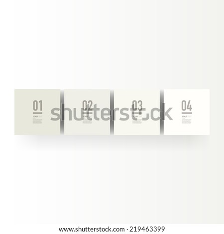 Infographic design with realistic 3d boxes on simple background with numbers and text, can be used for workflow layout, diagram, chart, number options, web design. Eps 10 stock vector illustration  - stock vector