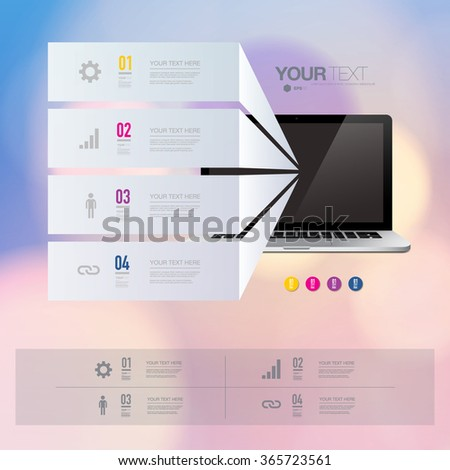 Infographic design with realistic 3d computer with colorful shiny bokeh background   can be used for workflow layout, diagram, chart, number options, web design.  Eps 10 stock vector illustration  - stock vector