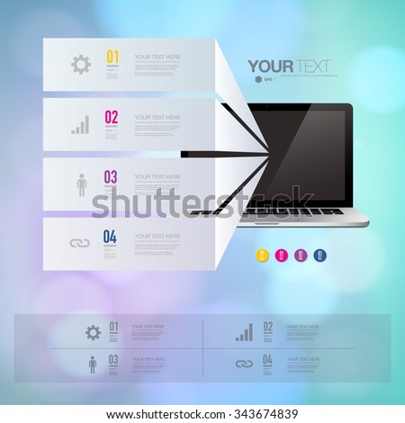 Infographic design with realistic 3d computer with colorful shiny bokeh wallpaper  can be used for workflow layout, diagram, chart, number options, web design.  Eps 10 stock vector illustration  - stock vector
