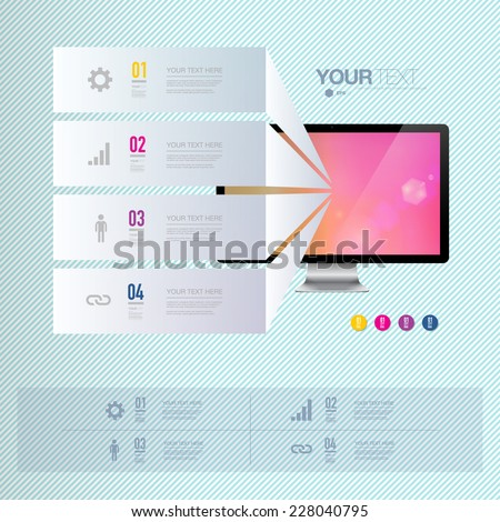 Infographic design with realistic 3d computer with colorful shiny wallpaper  can be used for workflow layout, diagram, chart, number options, web design.  Eps 10 stock vector illustration  - stock vector
