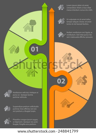 Infographic design with various house icons and options - stock vector