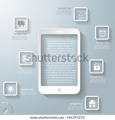 Infographic design with white smartphone and apps on the grey background. Eps 10 vector file. - stock vector