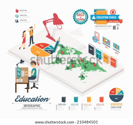 Infographic education template design . isometric concept vector illustration - stock vector