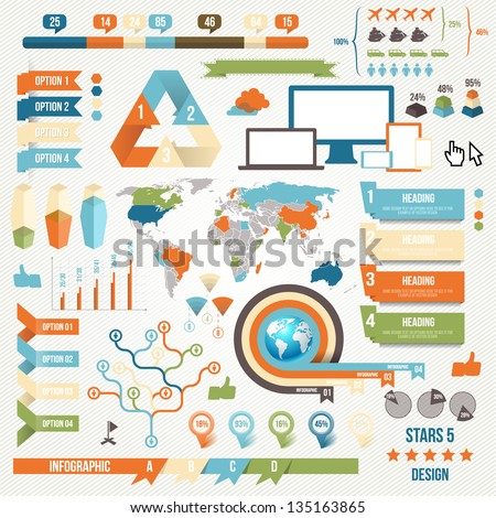 Infographic Elements and Communication Concept. Vector Ribbons and Corners. - stock vector