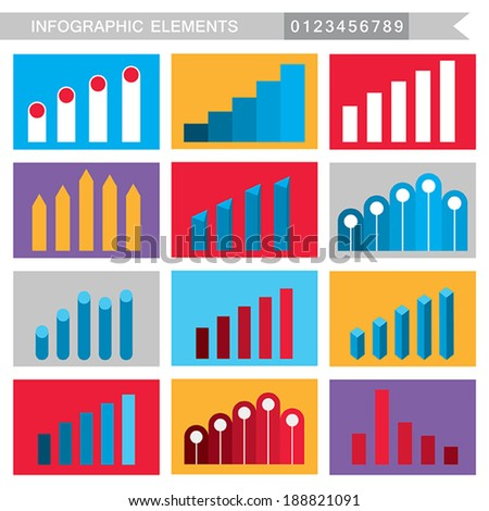 Infographic elements: charts, graph, diagram. Vector illustration - stock vector