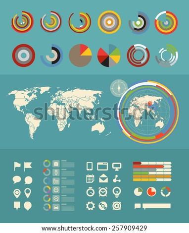 Infographic elements clip-art. Flat design elements