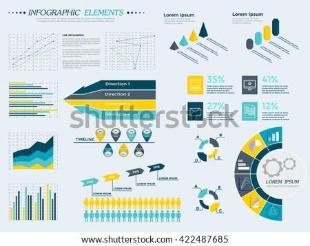 Infographic Elements Collection.Business Vector Illustration in flat design for presentation, booklet, website, diagram, banner, number options, work flow layout or web design. Big set of Infographics - stock vector
