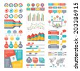 Infographic Elements Collection - Business Vector Illustration in flat design style for presentation, booklet, website etc. Big set of Infographics. - stock vector