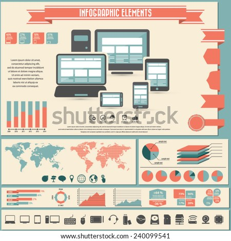 Infographic elements - computer , internet  and responsive web design on different devices