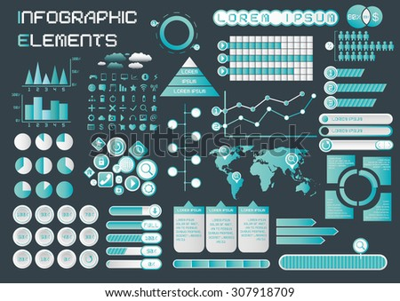 Infographic Elements Cyan Theme - stock vector