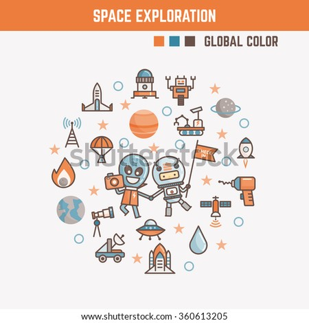 infographic elements for kids about space exploration including characters and icons - stock vector